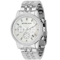 Michael Kors Women's MK5020 Mother of Pearl Chronograph Stainless Steel Watch - silver