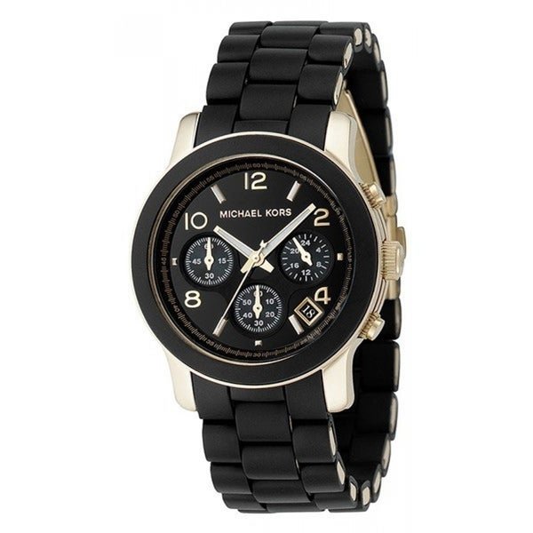 09a0c33f0f81 Michael Kors Women  x27 s MK5191 Polyurethane Chronograph Watch - Black