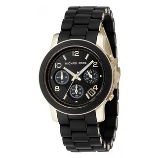 Michael Kors Women's MK5191 Polyurethane Chronograph Watch - Black