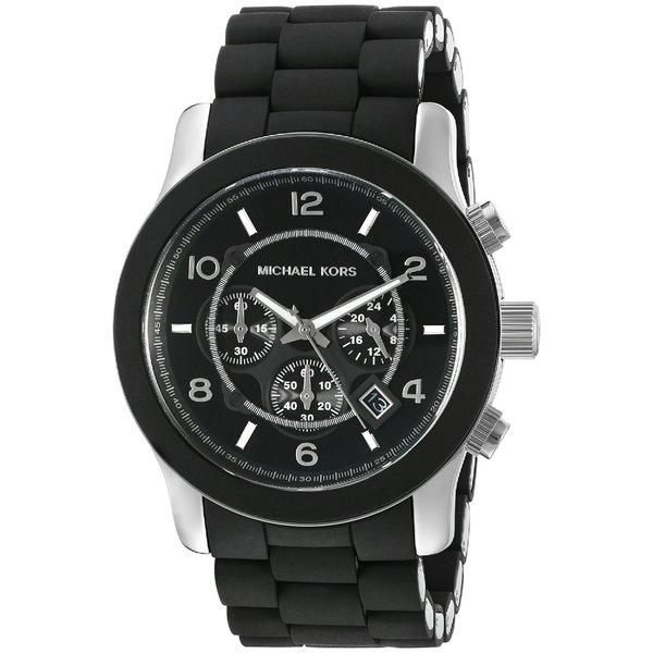 719742b5067 Michael Kors Men  x27 s MK8107 Runway Black Silicone Chronograph Watch