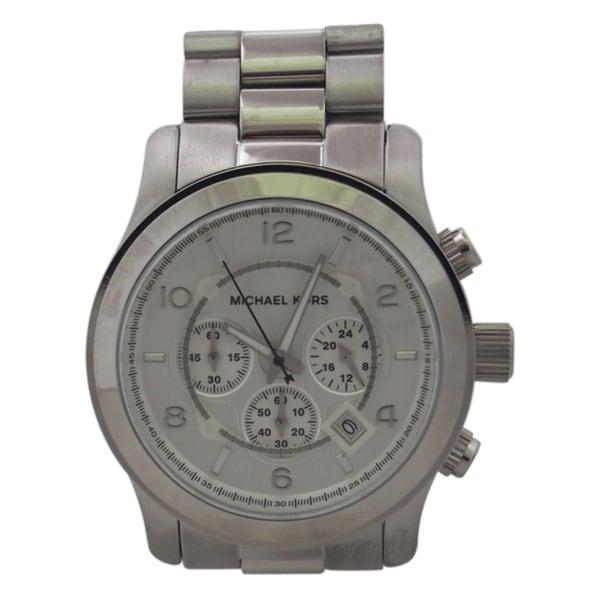 0b9ede4381bc Michael Kors Men  x27 s MK8086 Chronograph Silvertone Bracelet Watch -  Silver