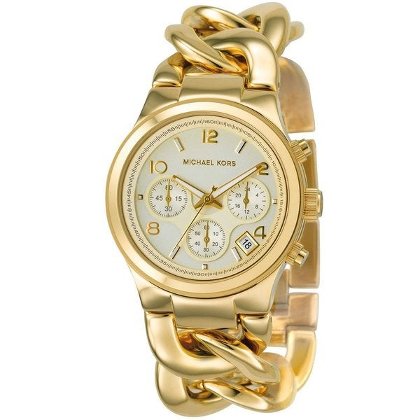 Michael Kors Women's MK3131 Gold Stainless-Steel Quartz Watch with White Dial