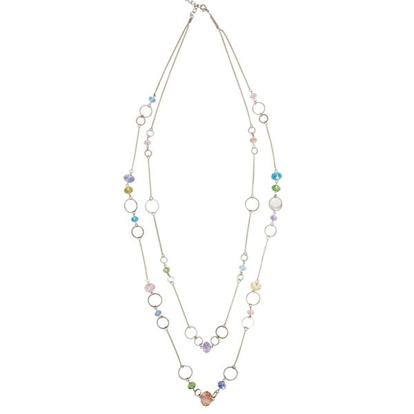NEXTE Jewelry Silvertone 'Chromato' Acrylic Bead 36-inch Double-row Necklace