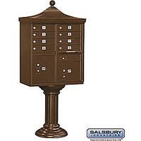 Salsbury Regency Decorative Brown Cluster Box Unit - USPS Access