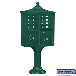 Salsbury Regency Decorative Green Cluster Box Unit - USPS Access