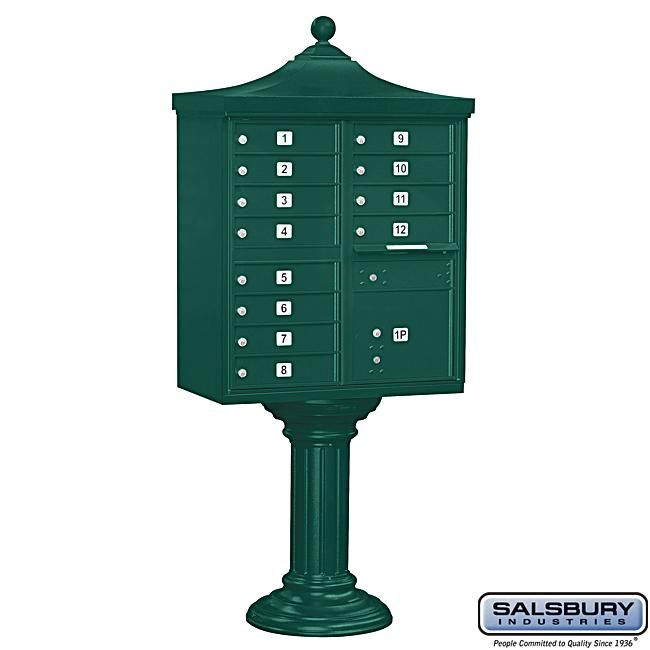 Salsbury Regency Green Decorative Cluster Mail Box Unit - USPS Access