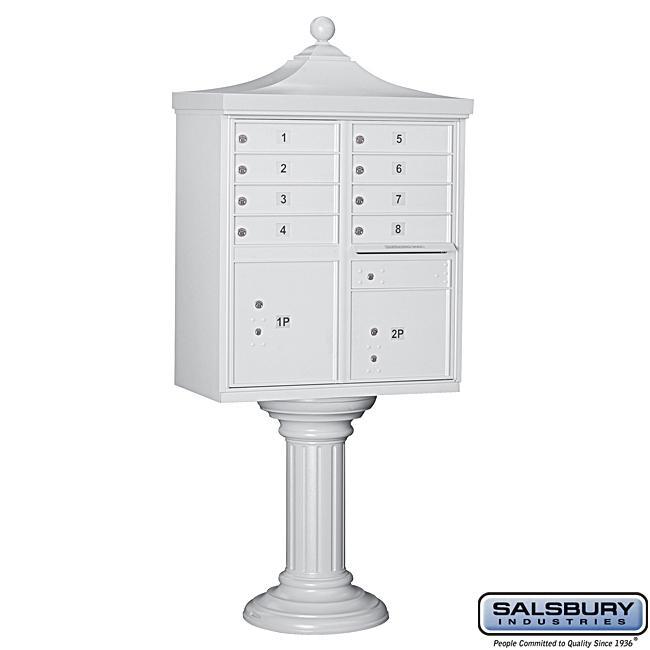 Salsbury Regency Decorative White Cluster Mail Box Unit - USPS Access