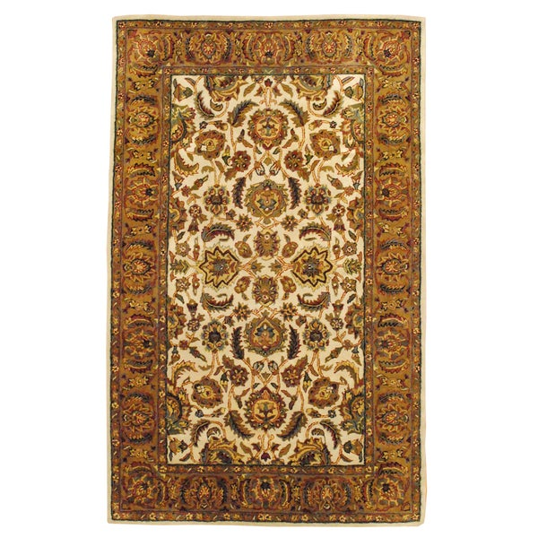 Indo Hand-Tufted Mahal Beige Wool Area Rug (5' x 8')