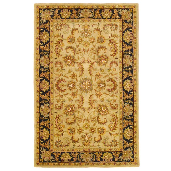 Indo Hand-tufted Mahal Gold Wool Rug (5' x 8')
