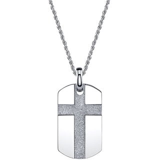 Stainless Steel Men's Cross Dog Tag Necklace