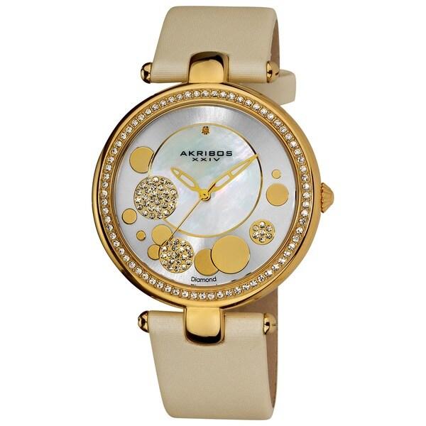 Akribos XXIV Women's Diamond Dial Quartz White Strap Watch