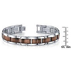 Stainless Steel High-Polish Men's Brown Ion-Plated Link Bracelet
