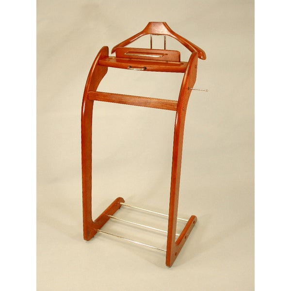 Executive Style Cherry with Brass Hardware Clothing Butler Valet Suit Stand VL16138