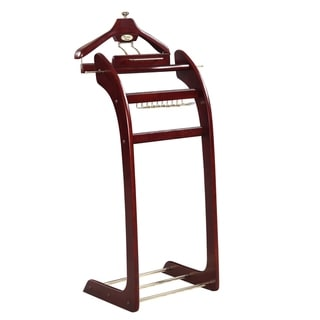 Windsor Signature Dark Mahogany with Brass Hardware Valet Stand - Dark Mahogany with Brass