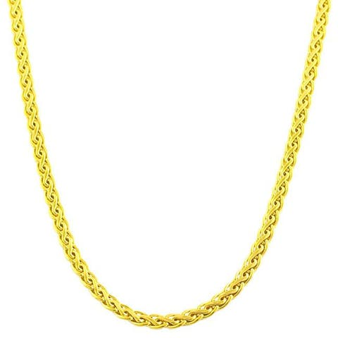 Fremada 10k Yellow Gold 18-inch Flat Wheat Chain Necklace (3 mm)