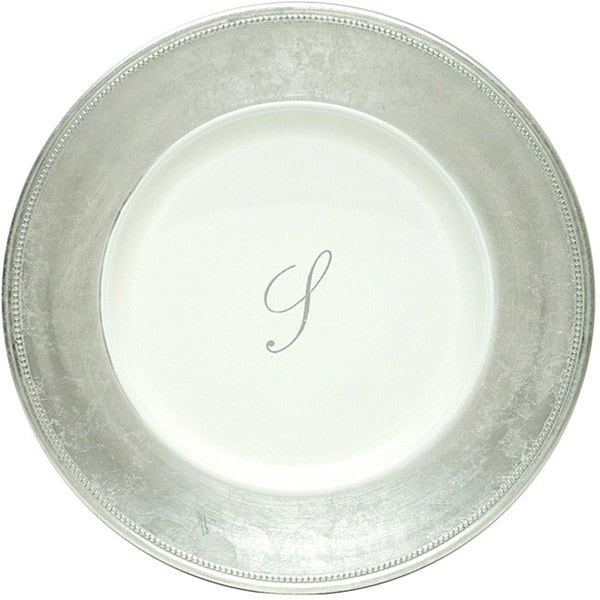 ChargeIt! by Jay 13-inch Silver Monogram Chargers (Pack of 8). Opens flyout.