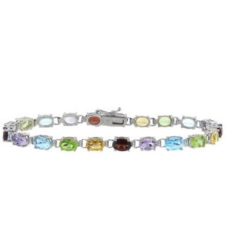 Dolce Giavonna High-polish Sterling Silver Multi-gemstone Box-clasp Link Bracelet