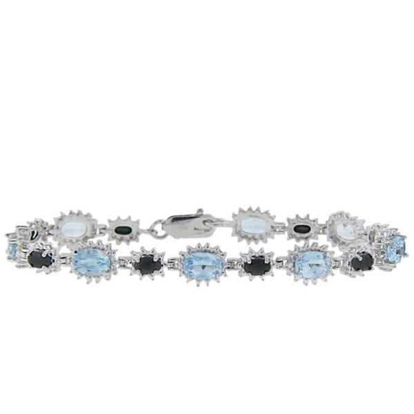 Dolce Giavonna Sterling Silver Sapphire, Blue Topaz and Diamond Accent Bracelet