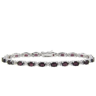 Dolce Giavonna Sterling Silver Garnet and Diamond Accent Bracelet