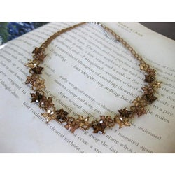 Stainless Steel Brown Crystal Flower Necklace