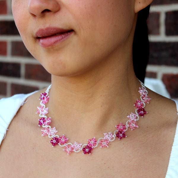 Stainless Steel Romance Pink Crystal Flower Necklace