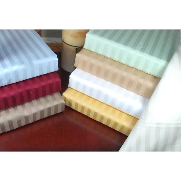Superior 300 Thread Count Stripe Cotton Sateen Pillowcases (Set of 2)