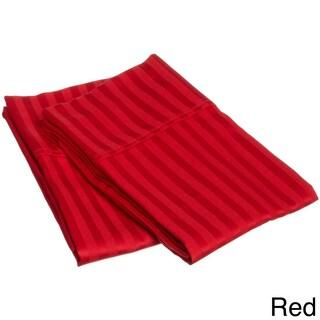 Superior 300 Thread Count Stripe Cotton Sateen Pillowcase Set (Set of 2) (Option: Standard - Red)