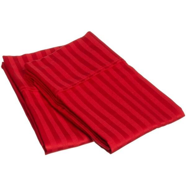 Superior 300 Thread Count Stripe Cotton Sateen Pillowcase Set (Set of 2)