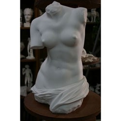 White Bonded Marble Torso of Classic Aphrodite of Melos Sculpture