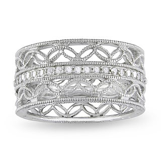 Miadora Sterling Silver 1/6ct TDW Diamond Anniversary Band