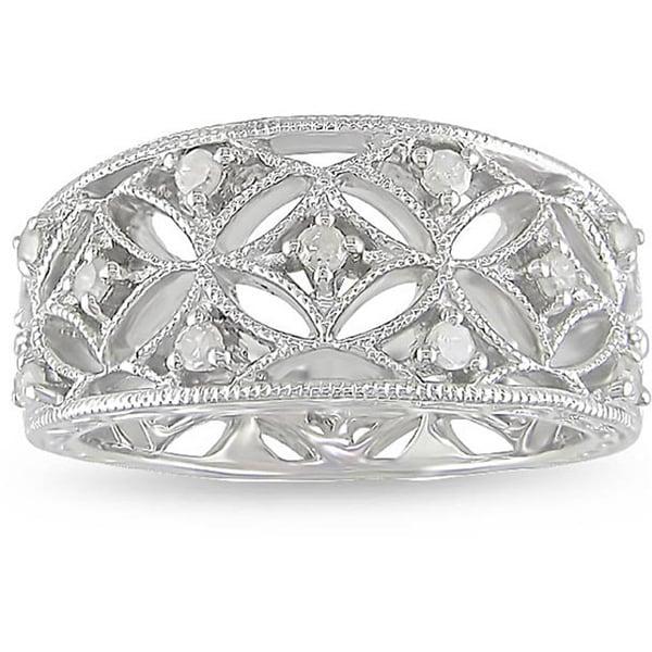 Miadora Sterling Silver 1/4ct TDW Diamond Ring