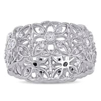 Miadora Sterling Silver 1/3ct TDW Diamond Ring