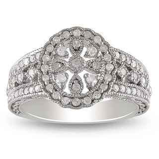 Miadora Sterling Silver 1/3ct TDW Round-cut Diamond Ring
