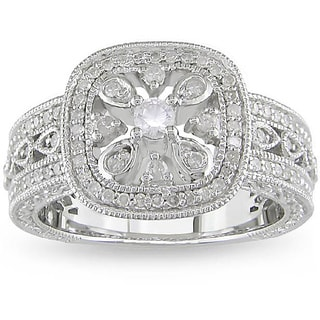 Miadora Silver Created Sapphire and 1/3ct TDW Diamond Ring (H-I, I3)