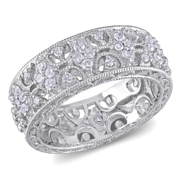 Miadora Sterling Silver 1/3ct TDW Prong-set Diamond Ring
