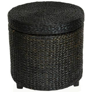 Handmade Rush Grass Storage Footstool (China) (Option: Black)