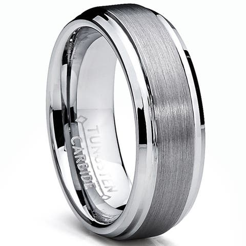 Oliveti Men's Tungsten Carbide Brushed and Polished Beveled Edge Ring (7 mm)