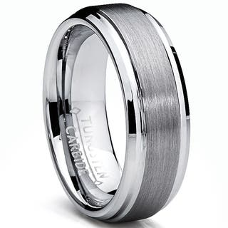 Men S Tungsten Carbide Brushed And Polished Beveled Edge Ring
