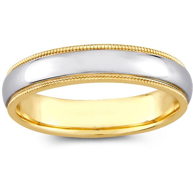 14k Two-tone Gold Women's Milligrain Comfort Fit Wedding Band (4 mm)
