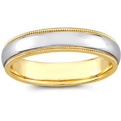 14k Two-tone Gold Women's Milligrain Comfort Fit Wedding Band (4 mm)
