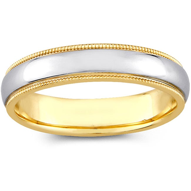14k Two-tone Gold Men's Milligrain Comfort Fit Wedding Band (4 mm)