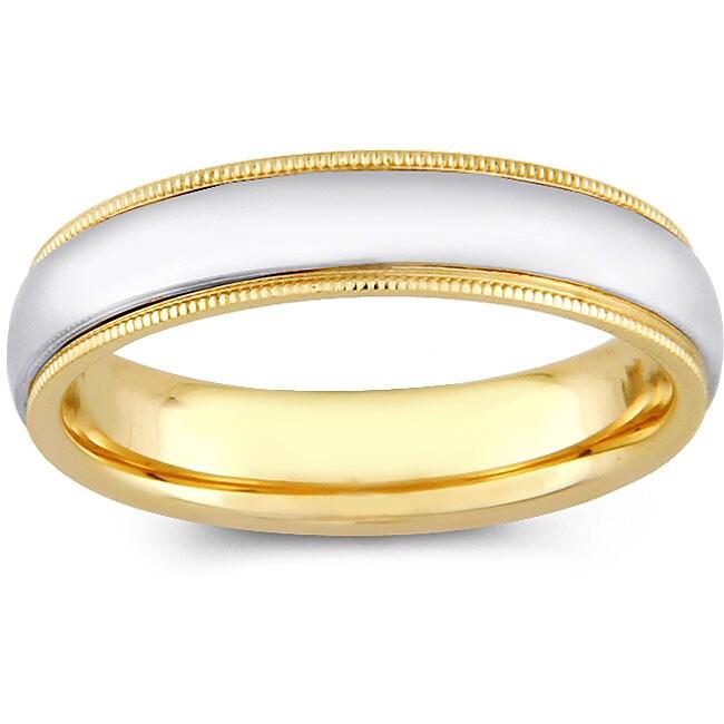 14k Two-tone Gold Women's Milligrain Comfort Fit Wedding Band (5 mm)