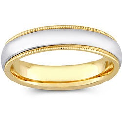 14k Two-tone Gold Women's Milligrain Comfort Fit Wedding Band (5 mm)
