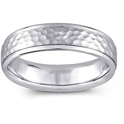 14k White Gold Women's Hammered Design Comfort Fit Wedding Band (5.5 mm)