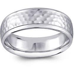 14k White Gold Men's Hammered Design Comfort Fit Wedding Band (6.5 mm) https://ak1.ostkcdn.com/images/products/5085961/14k-White-Gold-Mens-Hammered-Design-Comfort-Fit-Wedding-Band-6.5-mm-P12942478a.jpg?impolicy=medium