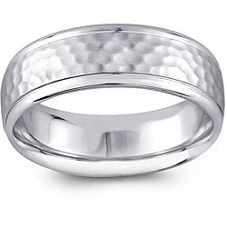 14k White Gold Men's Hammered Design Comfort Fit Wedding Band (6.5 mm)