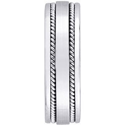 14k White Gold Women's Rope Detail Comfort Fit Wedding Band (5.2 mm) - Thumbnail 1