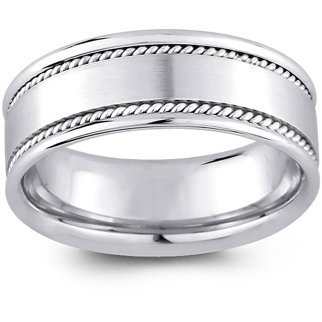 Shop 14k White Gold Men's Rope Detail Comfort Fit Wedding Band (8