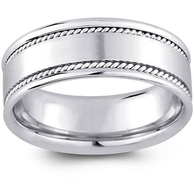 Shop 14k White Gold Men's Rope Detail Comfort Fit Wedding