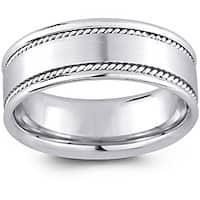 14k White Gold Men's Rope Detail Comfort Fit Wedding Band (8 mm)